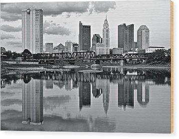 Charcoal Columbus Mirror Image Wood Print by Frozen in Time Fine Art Photography