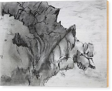 Charcoal Sea Rocks Wood Print