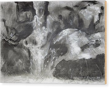 Charcoal Waterfall Wood Print