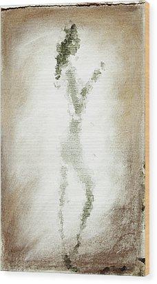 Charcoal Woman Wood Print by Andrea Barbieri