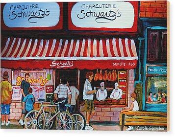 Charcuterie Schwartz's Deli Montreal Wood Print by Carole Spandau