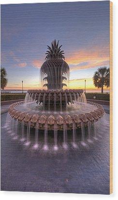 Charelston Pineapple Fountain Sunrise Wood Print by Dustin K Ryan