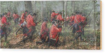 Charge Of The 60th Royal Americans Regiment At Bushy Run Wood Print by Randy Steele