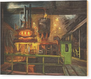 Charging The Arc Furnace Wood Print by Martha Ressler