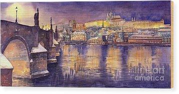 Charles Bridge And Prague Castle With The Vltava River Wood Print by Yuriy  Shevchuk