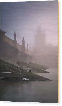 Charles Bridge At Autumn Foggy Day, Prague, Czech Republic Wood Print