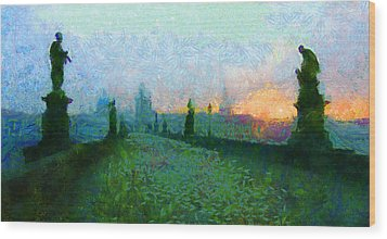 Charles Bridge At Dawn Wood Print by Peter Kupcik