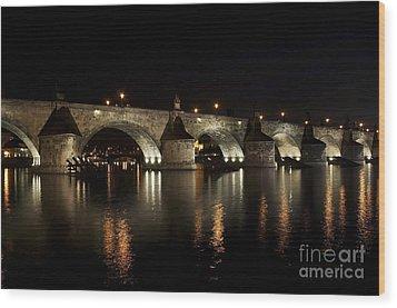 Charles Bridge At Night Wood Print by Michal Boubin