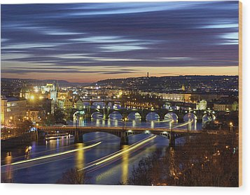 Charles Bridge During Sunset With Several Boats, Prague, Czech Republic Wood Print