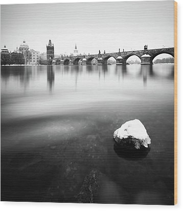 Charles Bridge During Winter Time With Frozen River, Prague, Czech Republic Wood Print