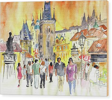 Charles Bridge In Prague In The Czech Republic Wood Print by Miki De Goodaboom