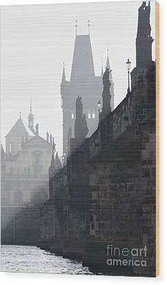 Charles Bridge In The Early Morning Fog Wood Print by Michal Boubin