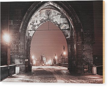 Wood Print featuring the photograph Charles Bridge In Winter. Prague by Jenny Rainbow