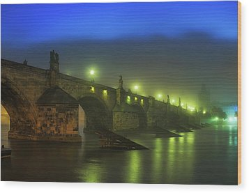 Charles Bridge Night In Prague, Czech Republic Wood Print
