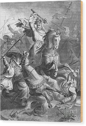 Charles Martel, Battle Of Tours, 732 Wood Print by Photo Researchers