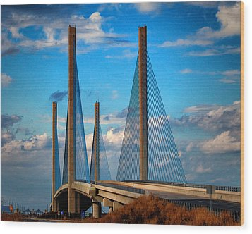 Charles W Cullen Bridge South Approach Wood Print by Bill Swartwout