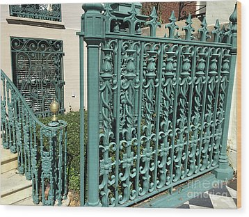 Wood Print featuring the photograph Charleston Aqua Turquoise Rod Iron Gate John Rutledge House - Charleston Historical Architecture by Kathy Fornal