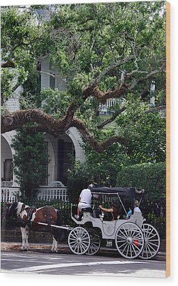 Charleston Buggy Ride Wood Print by Skip Willits