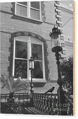 Wood Print featuring the photograph Charleston French Quarter Architecture - Window Street Lanterns Gothic French Black White Art Deco  by Kathy Fornal