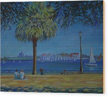 Charleston Harbor Sunday Regatta Wood Print by Dorothy Allston Rogers
