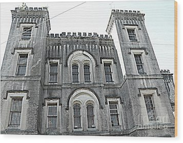 Wood Print featuring the photograph Charleston Historical Haunted Old Jail House - Charleston Old Jail Civil War Architecture  by Kathy Fornal