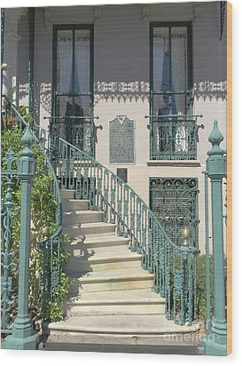 Wood Print featuring the photograph Charleston Historical John Rutledge House - Aqua Teal Gate Staircase Architecture - Charleston Homes by Kathy Fornal