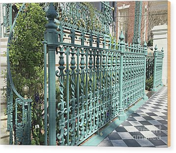 Wood Print featuring the photograph Charleston Historical John Rutledge House Fleur Des Lis Aqua Teal Gate Fence Architecture  by Kathy Fornal