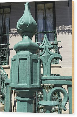 Wood Print featuring the photograph Charleston John Rutledge House Fleur De Lis Symbols - French Quarter Architecture Gate Posts by Kathy Fornal