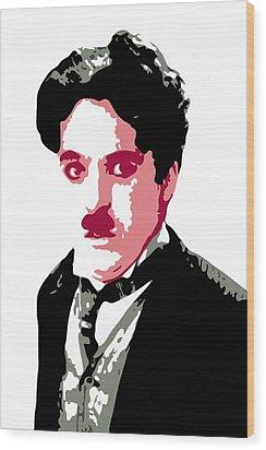 Charlie Chaplin Wood Print by DB Artist