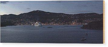Charlotte Amalie At Dusk Wood Print by Gary Lobdell