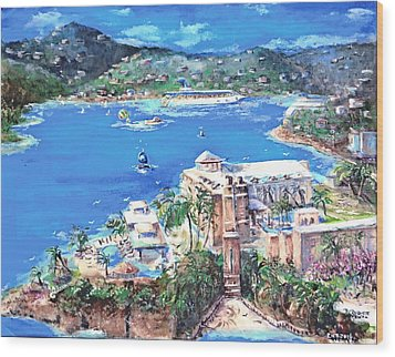 Charlotte Amalie Marriott Frenchmans Beach Resort St. Thomas Us Virgin Island Aerial Wood Print by Bernadette Krupa