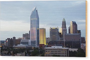 Wood Print featuring the photograph Charlotte Skyline by Tim Mattox