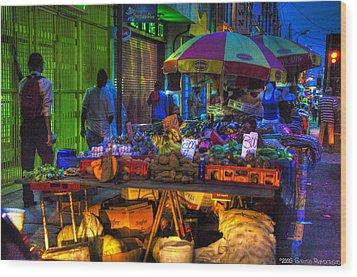 Charlotte Street Vendors Wood Print by Sarita Rampersad
