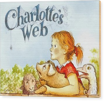 Charlottes Web Wood Print by Elizabeth Coats