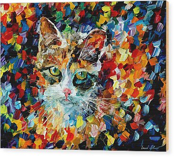 Charming Cat Wood Print by Leonid Afremov