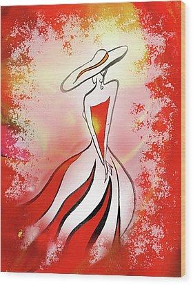 Charming Lady In Red Wood Print by Irina Sztukowski