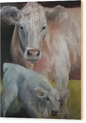 Charolais Cow Calf Painting Wood Print by Michele Carter