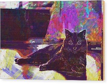 Wood Print featuring the digital art Chartreux Cat Animals Pet Mieze  by PixBreak Art