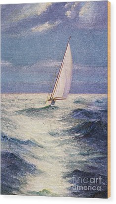 Chas Marer - Sailboat Wood Print by Hawaiian Legacy Archive - Printscapes