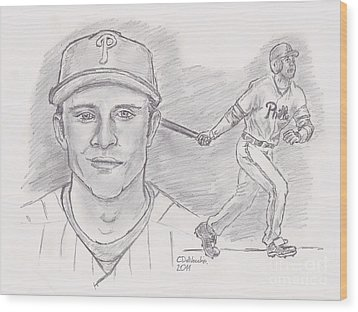 Chase Utley  Wood Print by Chris  DelVecchio