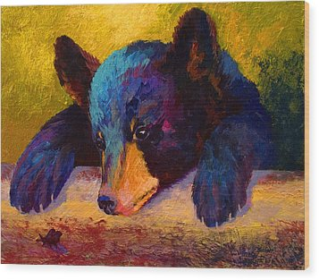 Chasing Bugs - Black Bear Cub Wood Print by Marion Rose