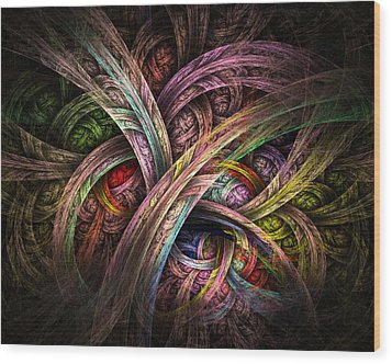 Wood Print featuring the digital art Chasing Colors - Fractal Art by NirvanaBlues