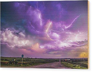 Chasing Nebraska Lightning 056 Wood Print