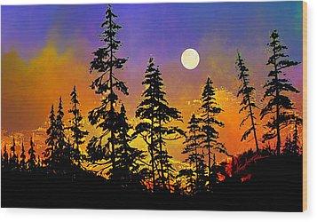 Chasing The Moon Wood Print by Hanne Lore Koehler