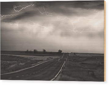 Chasing The Storm - County Rd 95 And Highway 52 - Co- Sepia Wood Print by James BO  Insogna