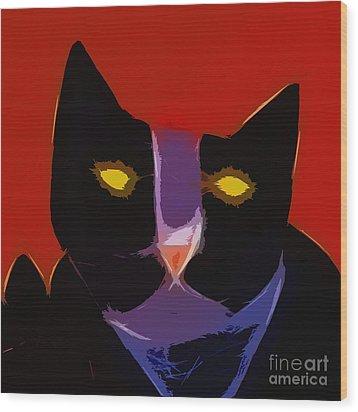 Chat Noir Wood Print by Lutz Baar