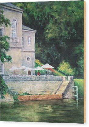 Chateau On The Lot River Wood Print
