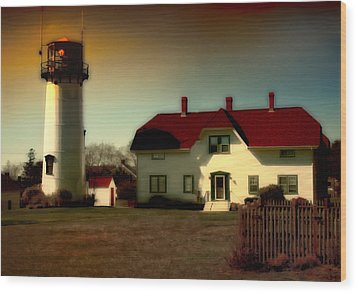 Chatham Lighhouse Wood Print by Gina Cormier