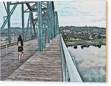 Chattanooga Footbridge Wood Print