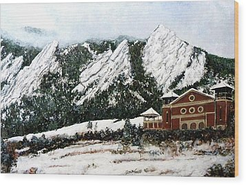 Wood Print featuring the painting Chautauqua - Winter, Late Afternoon by Tom Roderick